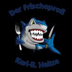 Der Frischeprofi Heitze: Ein Hai aht Messer und Gabel in der Hand